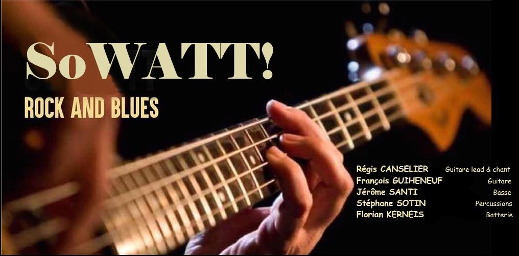 Logo avec guitare de SoWATT ,rock and blues, qui sera en concert au café-concert Le Centre à Saint Nazaire, vendredi soir, Saint marc sur Mer.